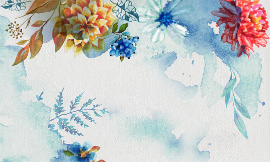 watercolor with flowers