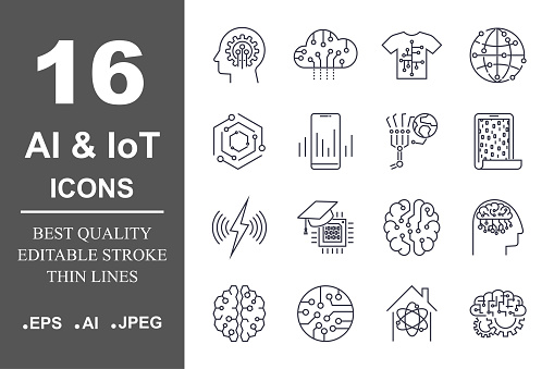 AI & IoT icon set