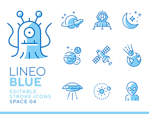 Line icon set - space