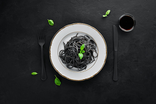 Black pasta on a plate