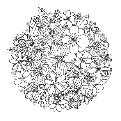 Flower Doodle Bouquet with Hand Drawn Vector.