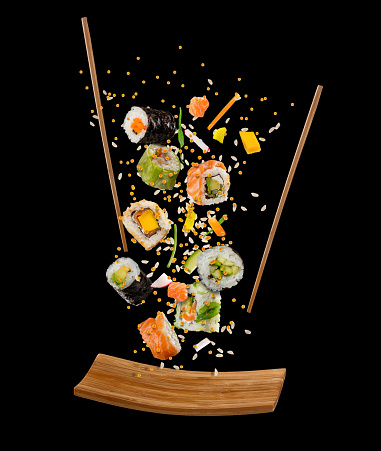Flying pieces of sushi