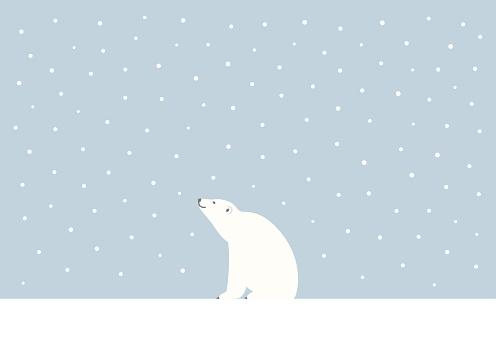 Winter Polar bear vector illustration