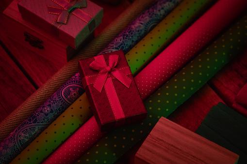 Christmas presents wrapping, gift box