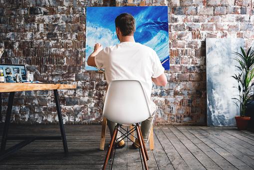 Artist in art studio