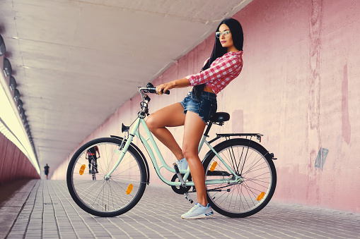bicycle with a woman