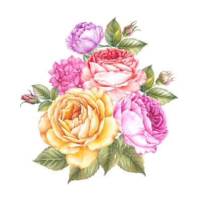 Vintage watercolor flower