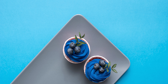 Cupcakes with blue cream