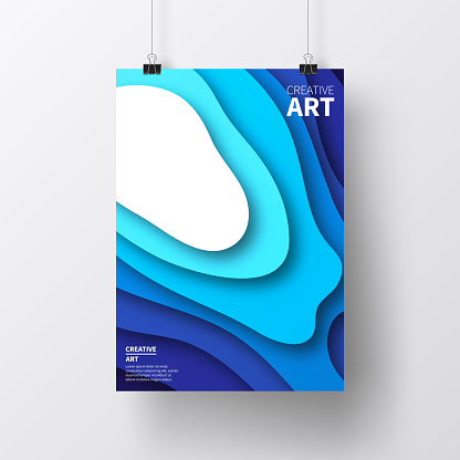 Blue abstract wave shapes