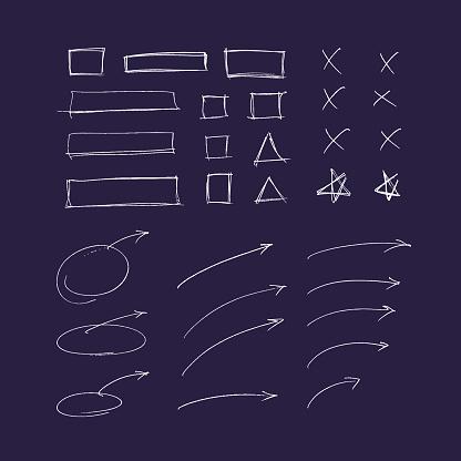set of hand drawn icon