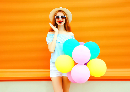 colorful balloons & woman