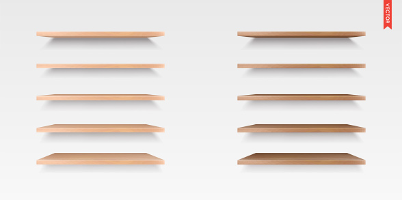 Set of Wood, Glass, Plastic Shelves