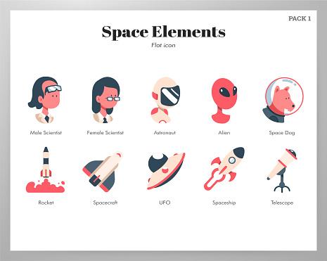 Flat color design icon set