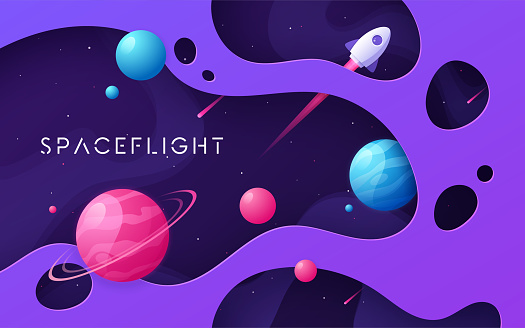 Colorful cartoon outer space background