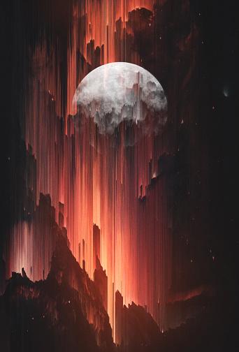 Rising Moon. Artistic Poster. Pixel Sorting Technique