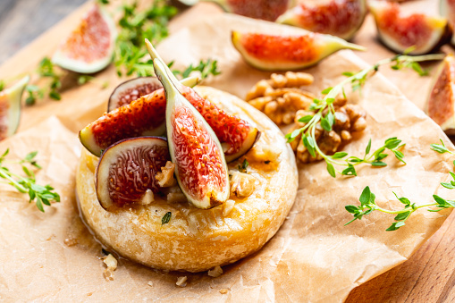 Baked camembert cheese with figs