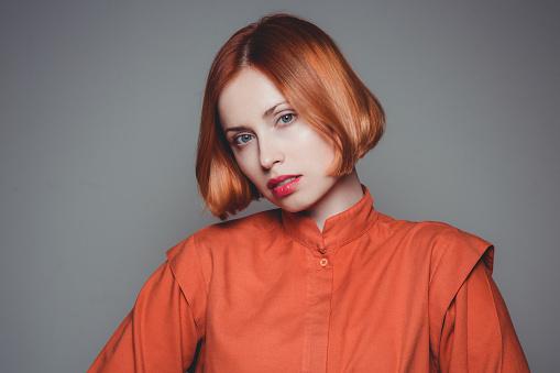Beautiful woman with orange hair