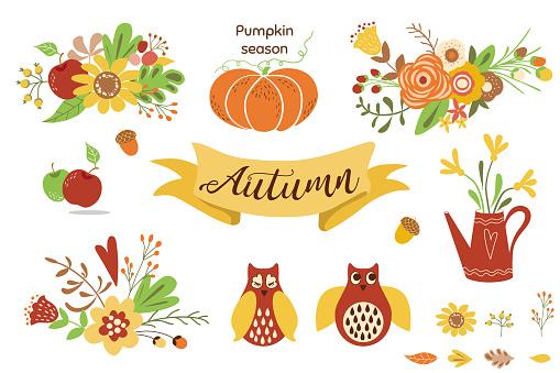 Autumn floral set