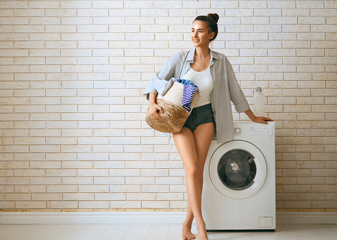 Doing laundry at home