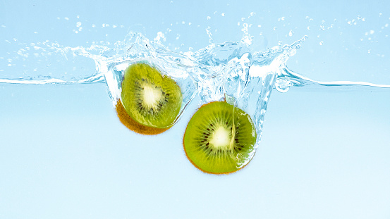 Fruits sinking into water