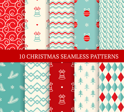 10 Christmas seamless patterns