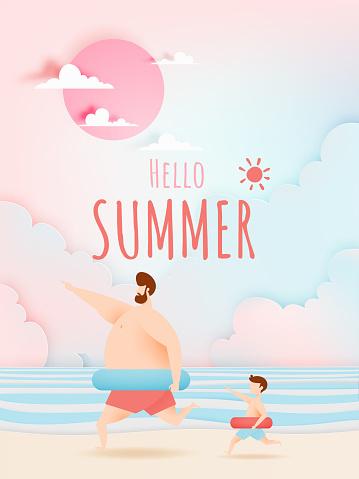Summer beach illustation