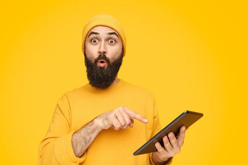 Man on yellow background