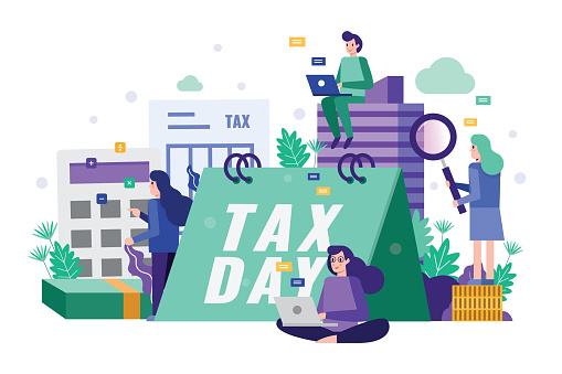 Business team analysis and strategy tax data on tax time deadline concept.