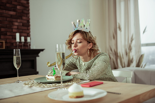Lonely birthday woman