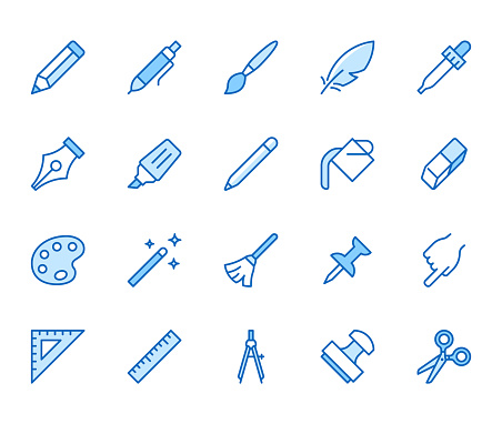 Flat line icons set - blue