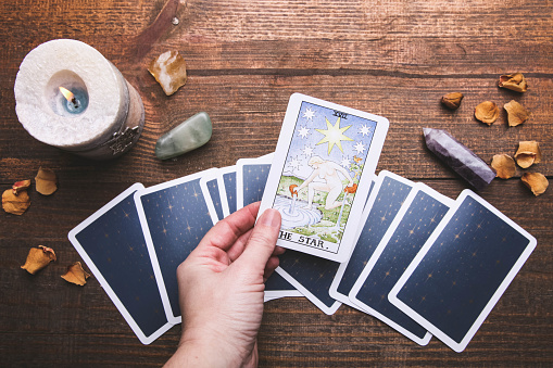 Tarot cards and mineral stones