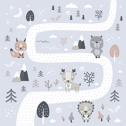 Cute wild animals illustration