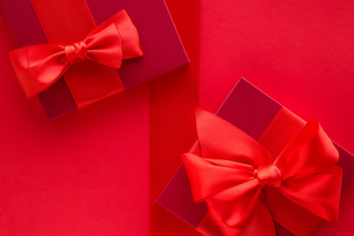 Red silk ribbon and box