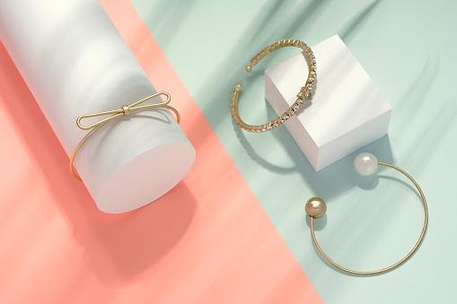 Golden gemstones bracelets set