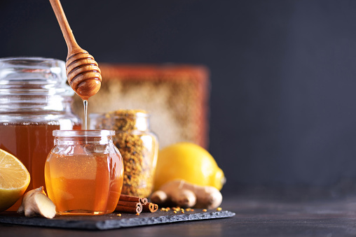 Set of honey and bee products