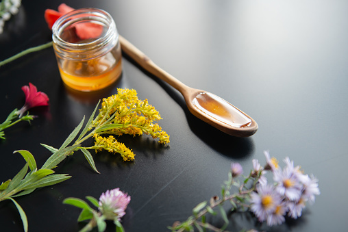 Aerial wildflower and honey portrait