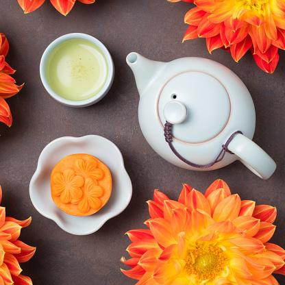 Mooncake and green tea
