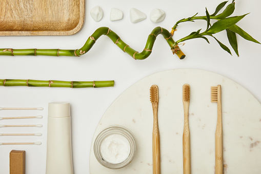 bamboo toothbrushes and toothpaste