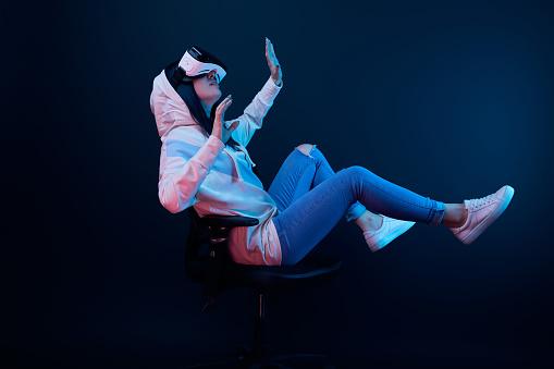 Woman wearing VR headset 2