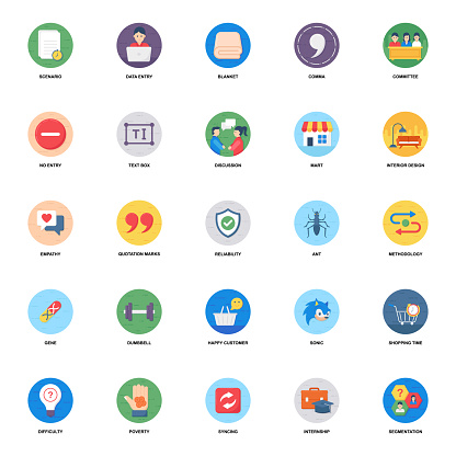 Bubble flat rounded icons