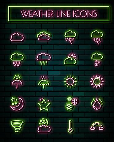 Neon line icons set