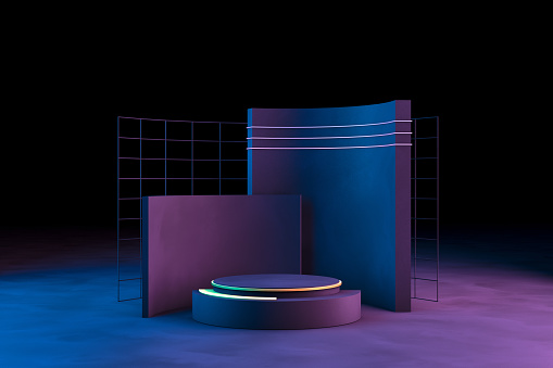 Blank product stand with neon lights on dark background