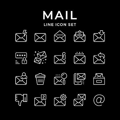 Set line icons on black