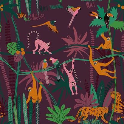 Jungle Wildlife Animals Seamless Pattern