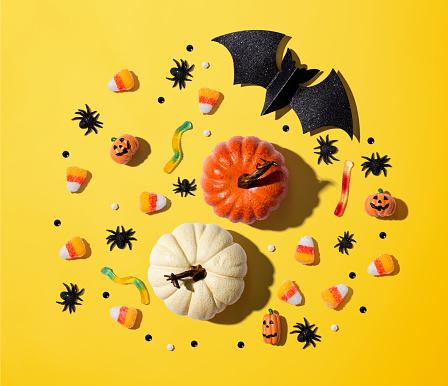 Pumpkins with Halloween decorations