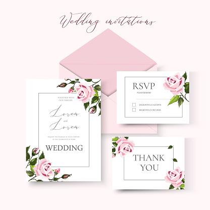 Wedding floral invitation card