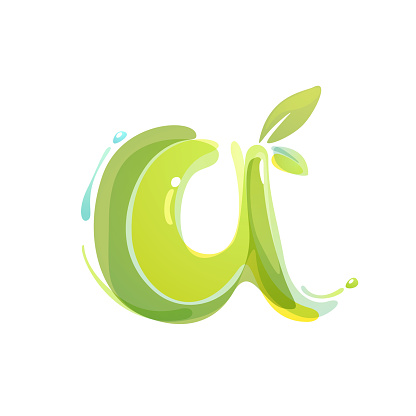 Eco watercolor splashes letter