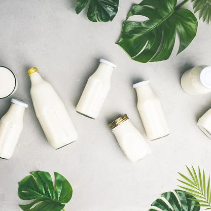 Various bottles of milk