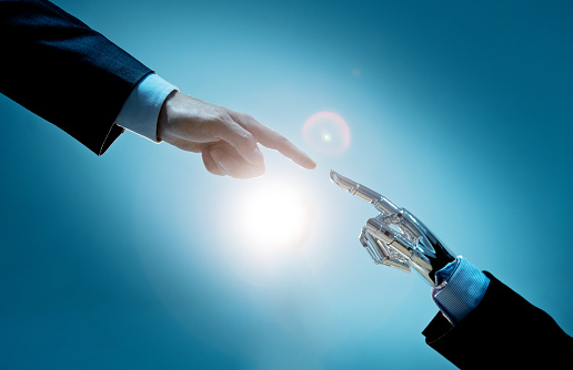 Man shaking hand with robot 2