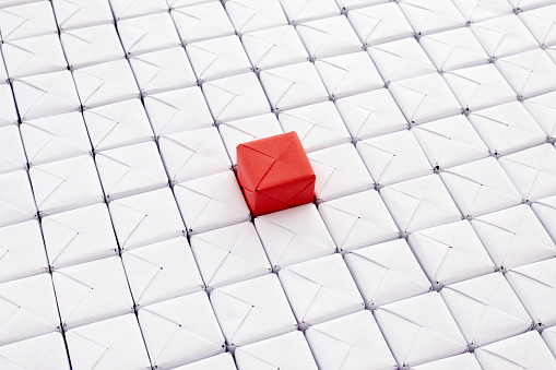 High angle view of cube grid